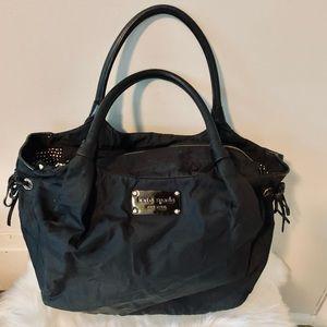 Kate Spade Black Nylon Leather Trim Purse